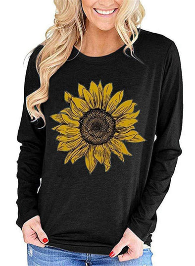 Floral Round Neck Loose Casual Long Sleeve Sweatshirt