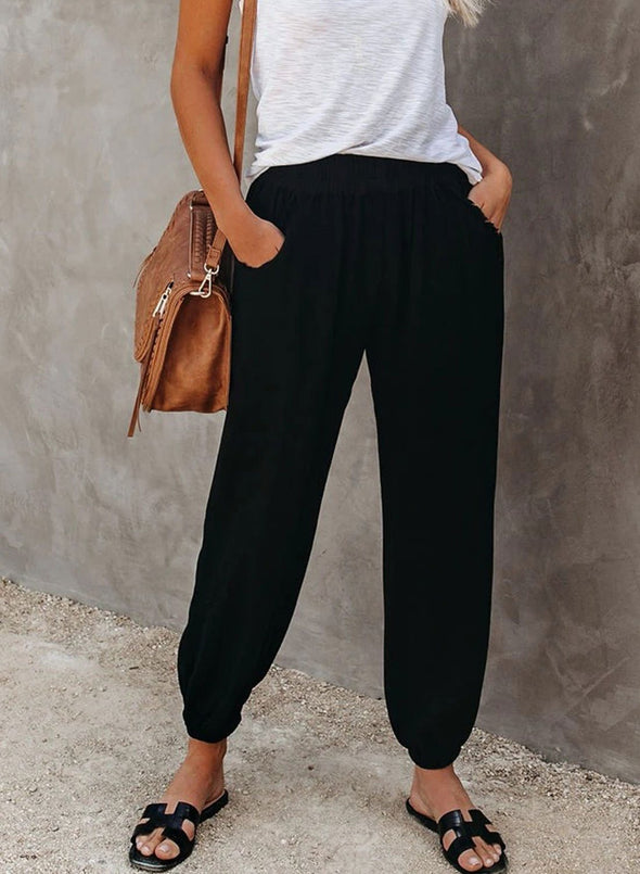 Women Casual Mid Waist Ankle-length Pocket Pants