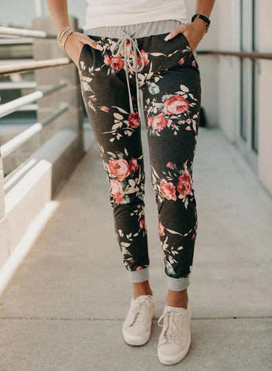 Casual Floral Print Slim Knot Women Mid Waist Pants