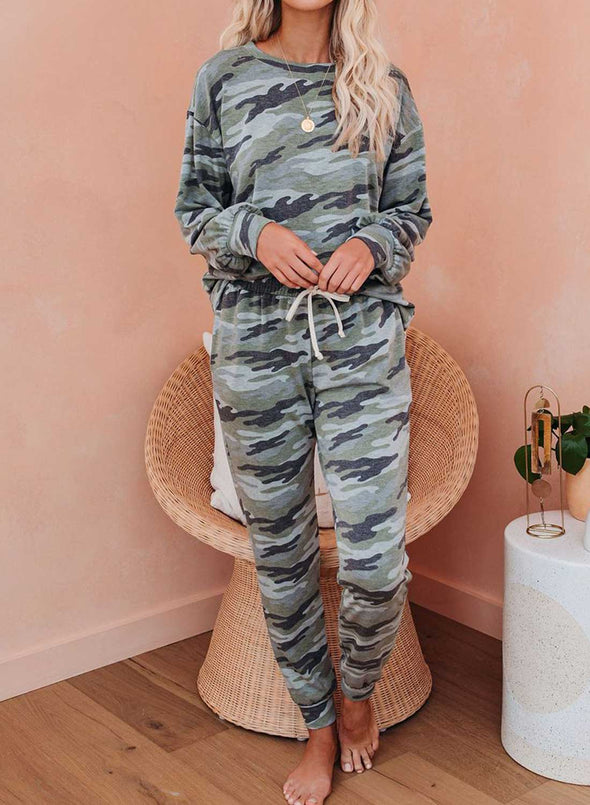 Camouflage Round Neck Full Length Sweatshirt 2 Piece Outfits