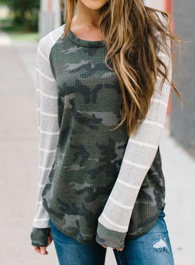 Camouflage One shoulder Striped Long Sleeve Sweatshirt