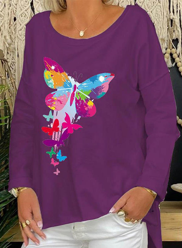 Solid  Butterfly Long Sleeve  Round Neck Sweatshirt