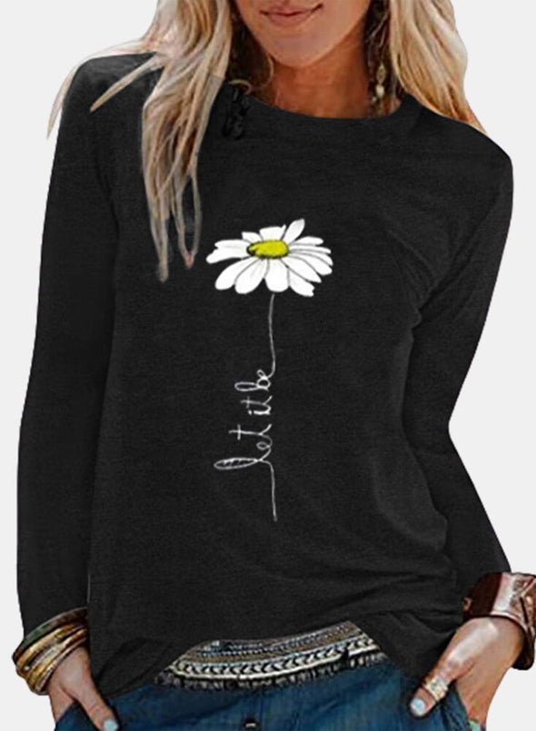 Solid Floral Round Neck Long Sleeve Tunic Sweatshirt