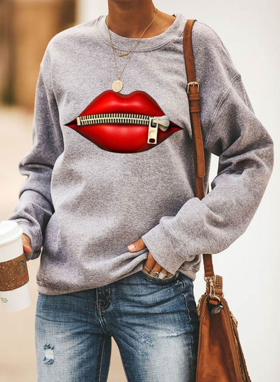 Solid Long Sleeve Round Neck Lips Print Sweatshirt