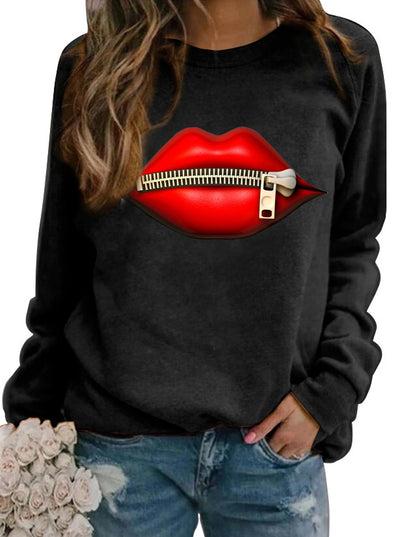 Lips Print Round Neck Long Sleeve Casual Sweatshirt