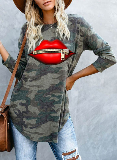 Camouflage Long Sleeve Lips Round Neck Tunic Sweatshirt