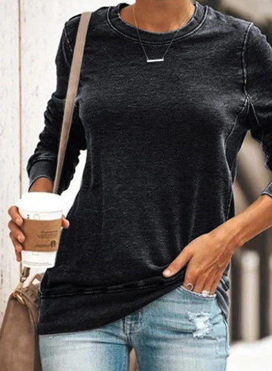Solid Round Neck Long Sleeve Basic Sweatshirt