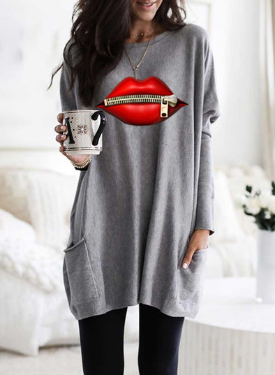 Solid Lips Print Long Sleeve Round Neck Tunic Sweatshirt
