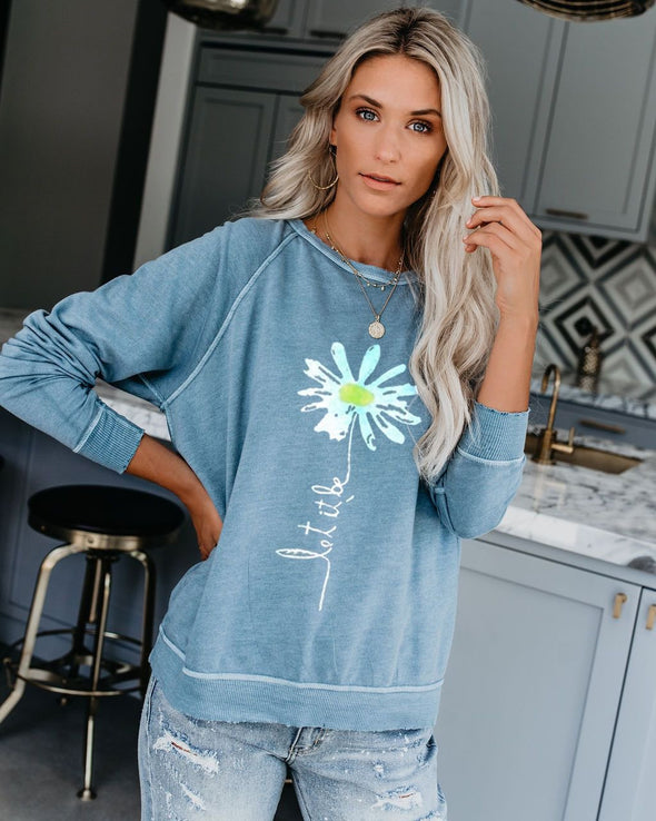 Solid Floral Long Sleeve Round Neck Sweatshirt