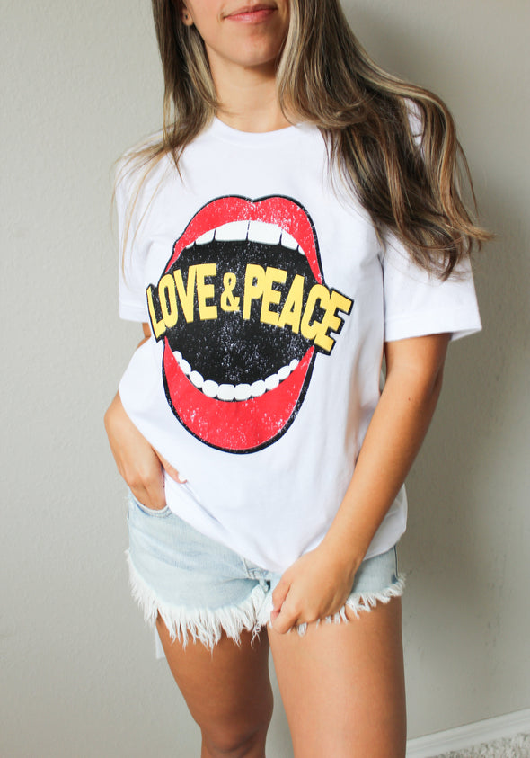 Casual Round Neck Lips Print Short T-shirt