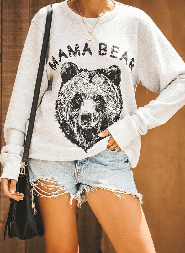 Solid Long Sleeve Round Neck Animal Print Sweatshirt