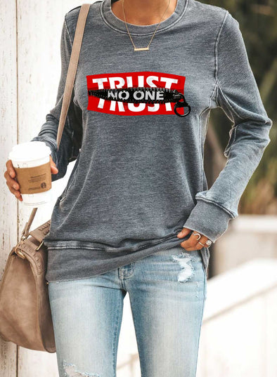 Solid Round Neck Long Sleeve Letter Sweatshirt