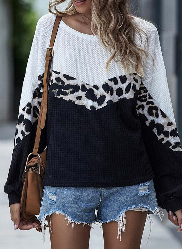 Color Block Leopard Long Sleeve Round Neck Sweatshirt