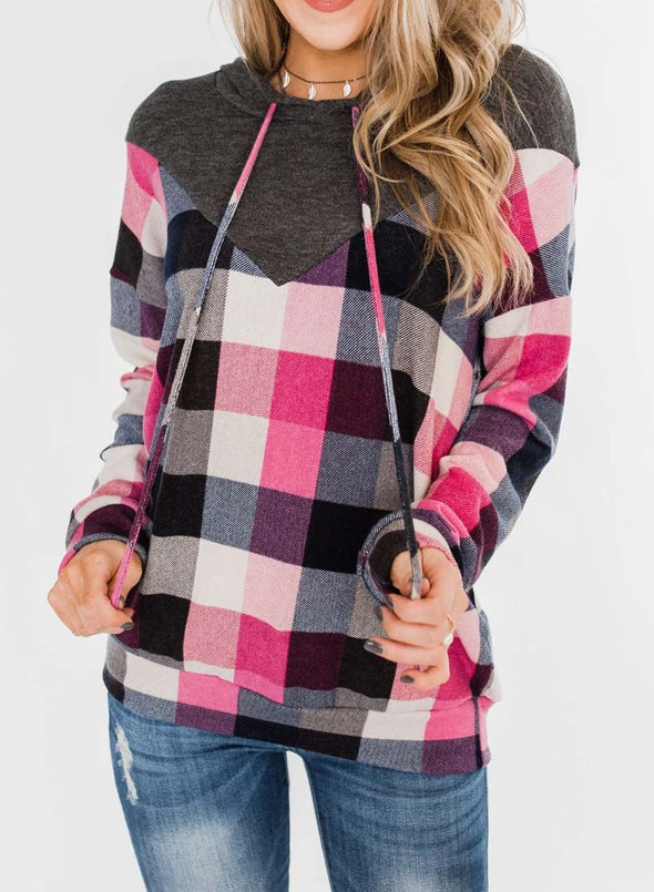 Color Block Long Sleeve Plaid Casual Hoodie