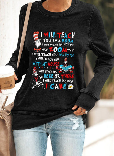 Cute Cartoon Printed Pullover Sweatshirt