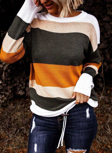Women Color Strip Long Sleeve Round Neck Sweater