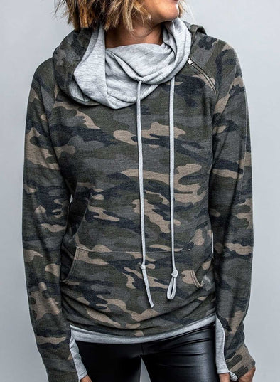 Camouflage Long Sleeve High Neck Daily Casual Sweatshirt