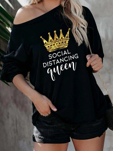 Queen&Letter Print Casual Round Neck Loose Tunic Sweatshirt