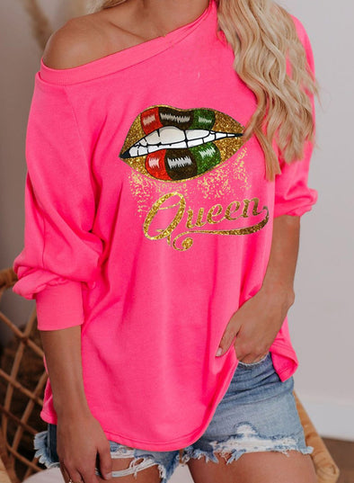 Solid Queen Round Neck Casual Tunic Sweatshirt