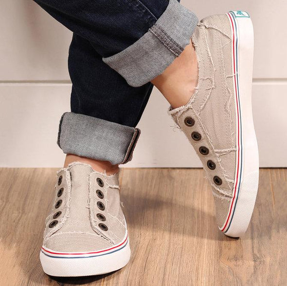 Gray Women Canvas Casual Flat Vintage Sneaker Loafers Shoes LC12226-1011