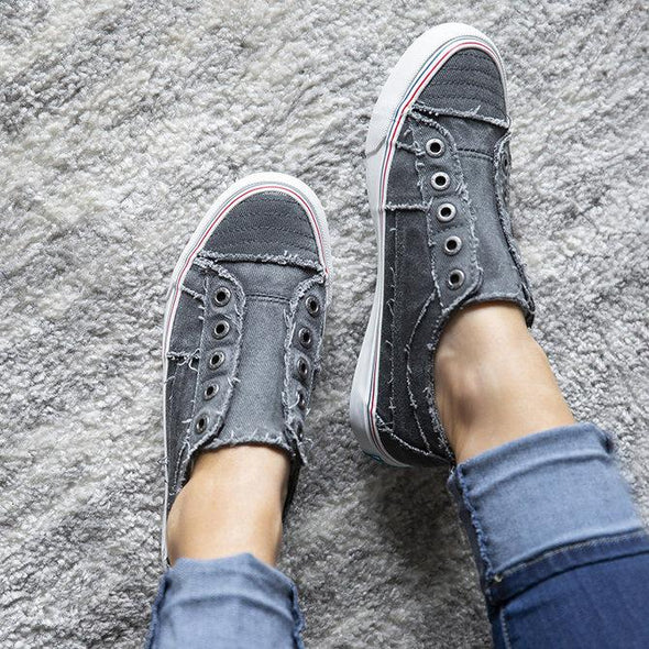 Gray Women Canvas Casual Flat Vintage Sneaker Loafers Shoes LC12226-11