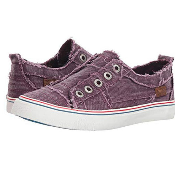 Purple Women Canvas Casual Flat Vintage Sneaker Loafers Shoes LC12226-8