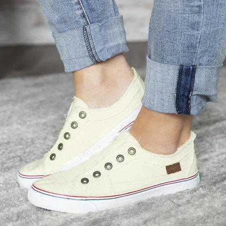 White Women Canvas Casual Flat Vintage Sneaker Loafers Shoes LC12226-1