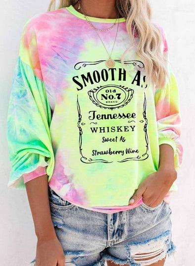 Round Neck Color Block Tie Dye Sweatshirt