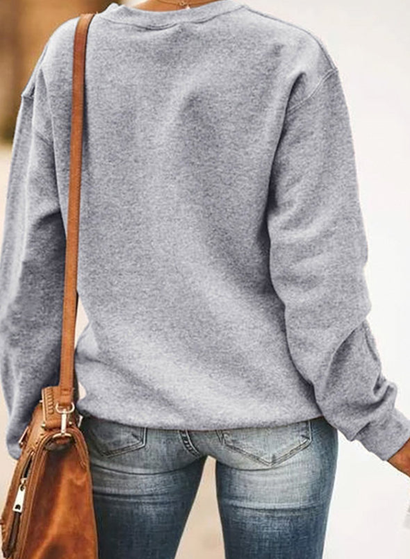Solid/Letter Long Sleeve Round Neck Casual