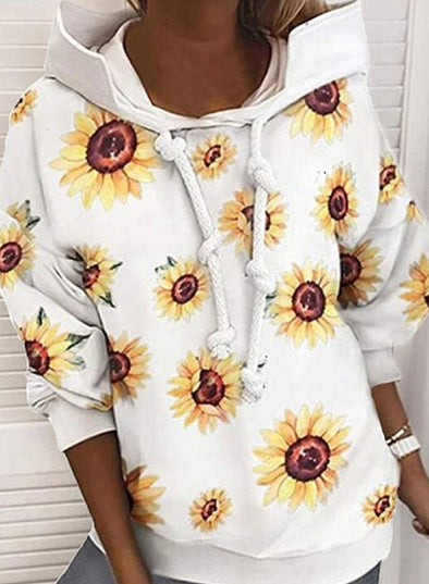 Sunflower Long Sleeve Drawstring Hoodie