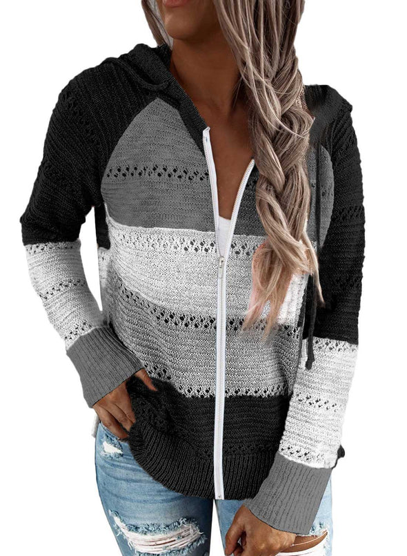 Color Block Long Sleeve Zip Hoodie