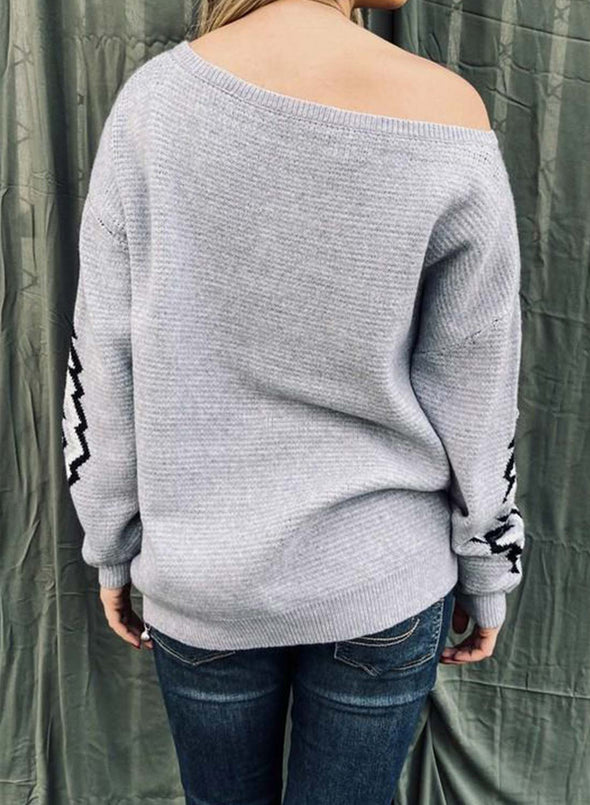Loose Round Neck  Strapless Casual Sweater