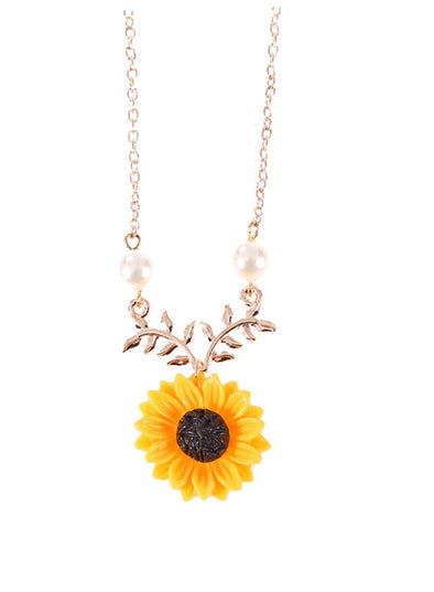 Sunflower Charm Chain Necklace