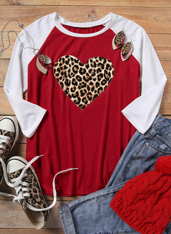 Red Love Leopard Print Casual Clothes
