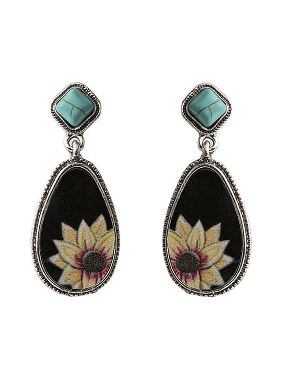 Sunflower Turquoise Water Drop Shaped Earrings