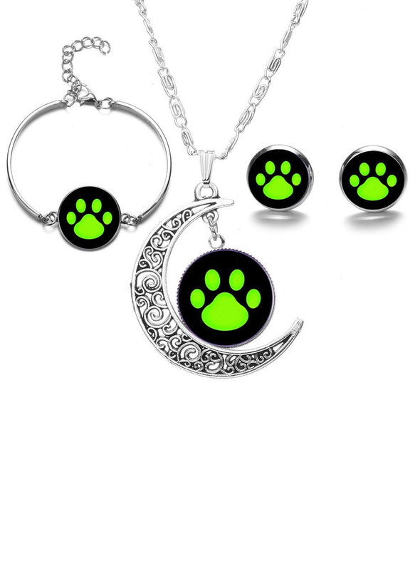 Dog Paw Gemstone Necklace Earring Bracelet Set