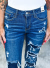 Dark And Light Blue Ripped Stitching Jeans