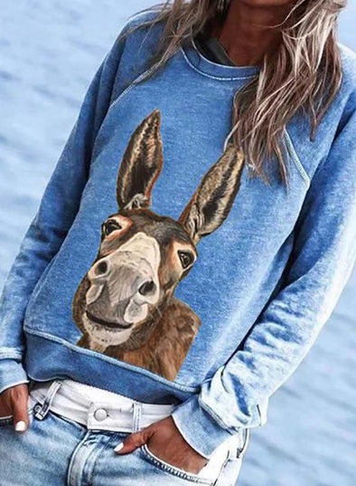 Lovely Round Neck Animal Print Daily Sweatshirt