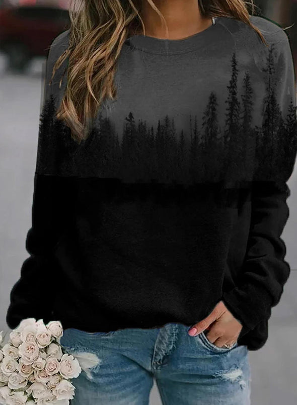Round Neck Long Sleeve Forest Printed Sweatshirt