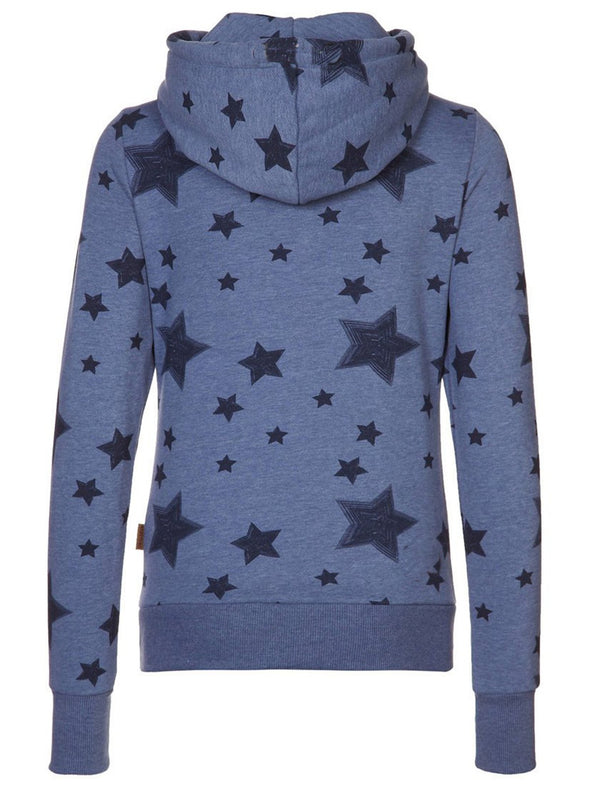 Blue Hoodie Cotton-Blend Long Sleeve Sweatshirt