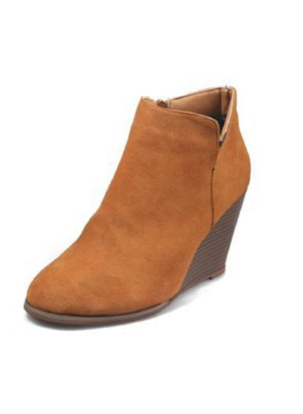 Orange Womens Wedge Boots Suede Fashion Ankle Booties LC12230-14