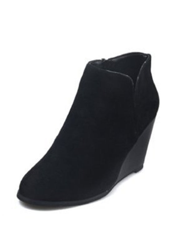 Black Womens Wedge Boots Suede Fashion Ankle Booties LC12230-2