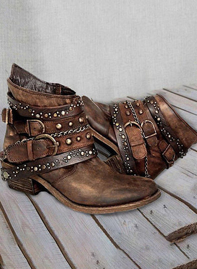 Gold Women Metal Buckle Ankle Boots Shoes LC12232-12