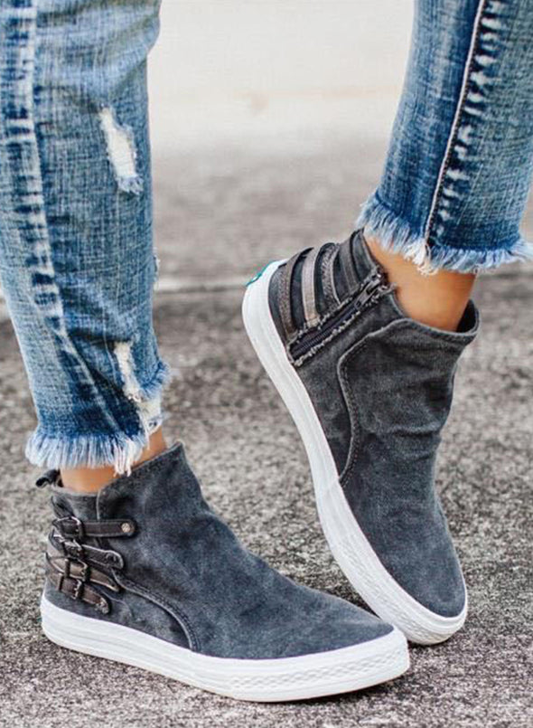 Blue Women Oversized Casual Buckle Canvas Denim Shoes LC12233-5