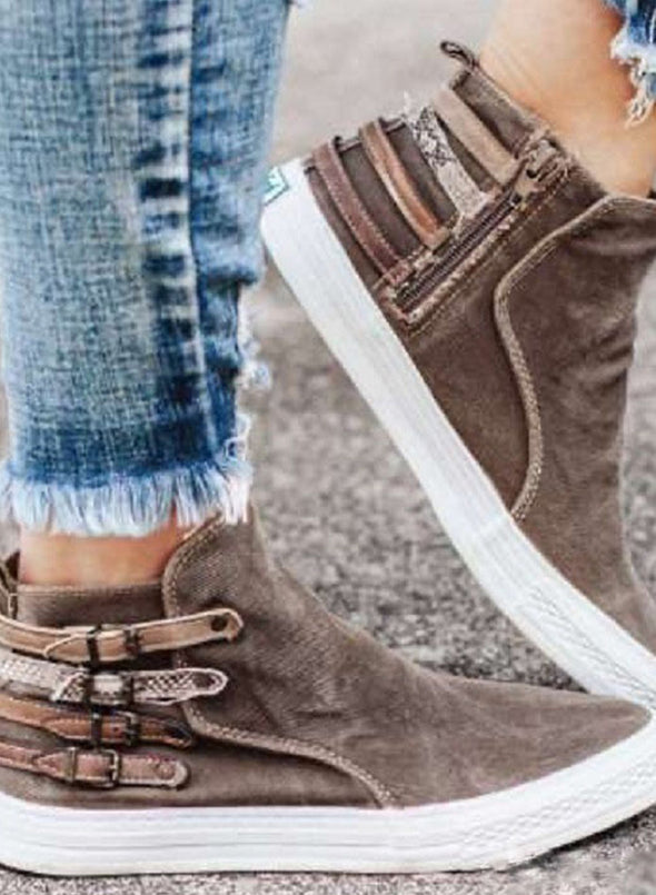 Brown Women Oversized Casual Buckle Canvas Denim Shoes LC12233-17
