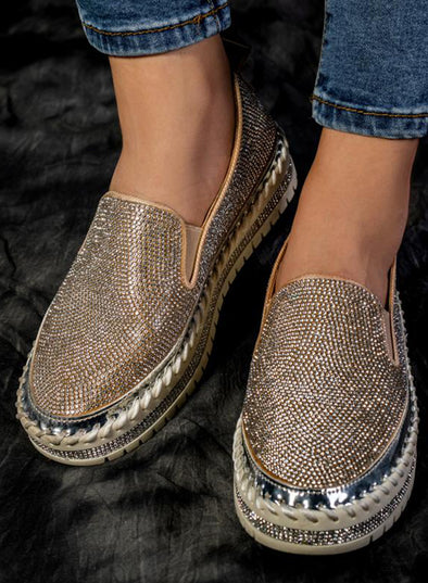 Silver Women Casual Fashion Rhinestone Slip-on Loafers LC12234-13