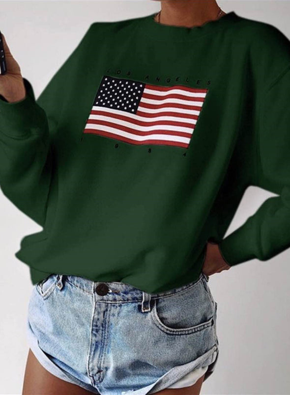 Green Flag Round Neck Long Sleeve Sweatshirt LC2532757-9
