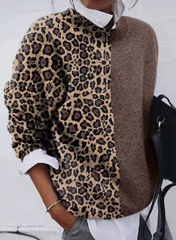 Khaki Long Sleeve Leopard Print Long Sleeve Sweater LC272825-16