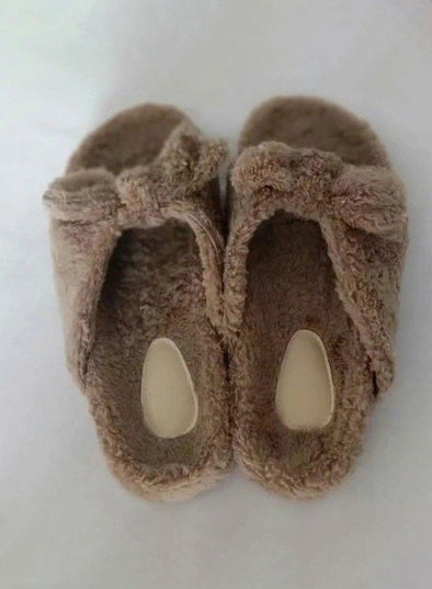 Khaki Women Solid Bowknot Furry Slippers LC12265-16