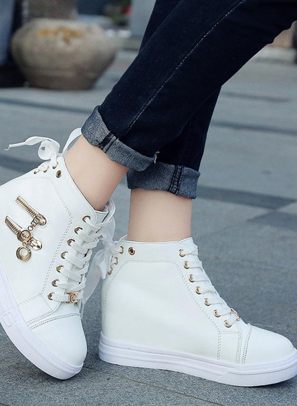 White Women High Top Lace-up Shoes LC12296-1